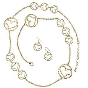 Long Heart Circles Gold Necklace Earrings Set